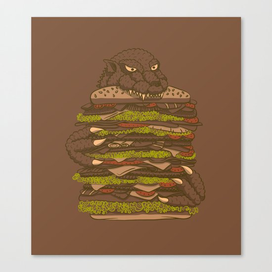 Godzilla vs Hamburger Canvas Print
