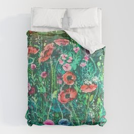 Poppies, Cornflowers and Spring Wildflowers at the Lagoon Comforters