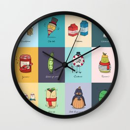 Punny Doodle Collection Wall Clock