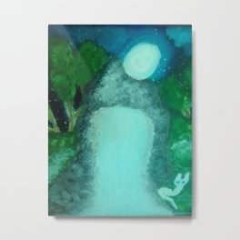 WHITE CAT IN THE MOON LITE BY THE WATERFALL Metal Print