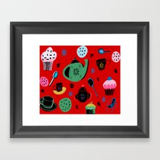 tea party on red Framed Art Print