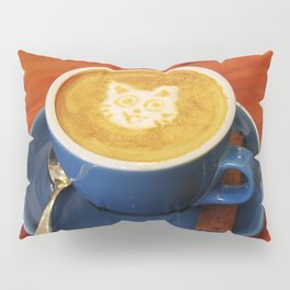 Coffee and Cats-A cat face in a coffee design Pillow Sham