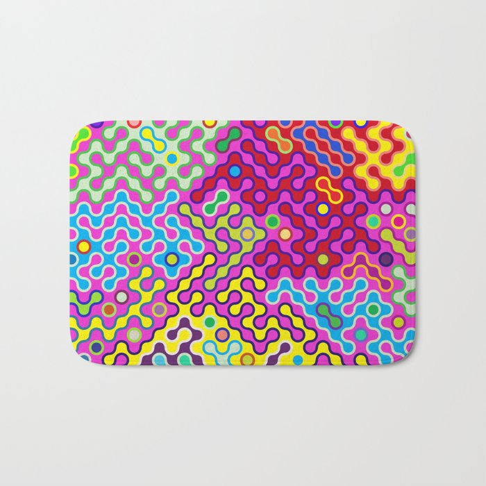 Abstract Psychedelic Pop Art Truchet Tile Pattern Bath Mat