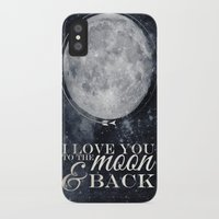 i love you to the moon and back iPhone & iPod Cases featuring I love you to the Moon & back by Pixels and Paper
