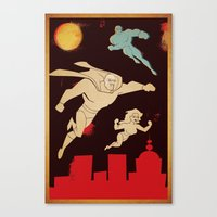 superheroes Canvas Prints featuring Superheroes by Fat Knack