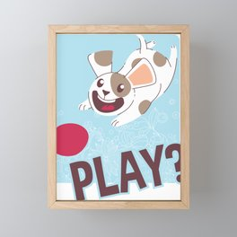 Play? Happy Dog Playing Fetch with Ball Framed Mini Art Print