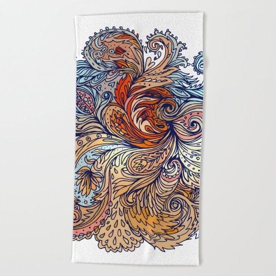 Brown Floral Indian Pattern Beach Towel