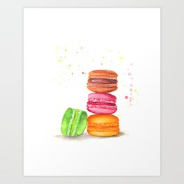 Macaroons watercolor Art Print