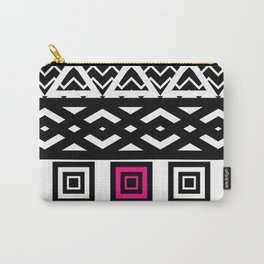 Girly Black White Abstract Geometric Pattern Pink Carry-All Pouch