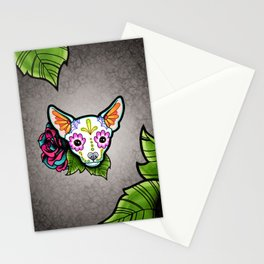Chihuahua in White - Day of the Dead Sugar Skull Dog Stationery Cards