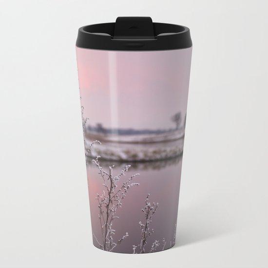 Winter Sunset At River Bank Metal Travel Mug