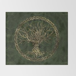 Tree of life -Yggdrasil -green and gold Throw Blanket
