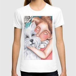 Sweet Coconut Original Art Schnauzer and girl Portrait T-shirt