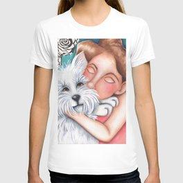 Sweet Coconut Original Art Schnauzer and girl Portrait T-shirt
