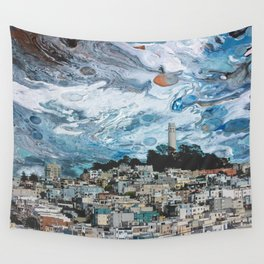 Starry Coit Tower Wall Tapestry