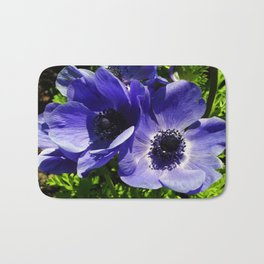 Two Blue Mauve Anemone - Close Up Windflowers  Bath Mat