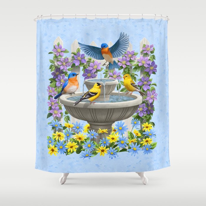 Bird Fountain Flower Garden Gathering Shower Curtain
