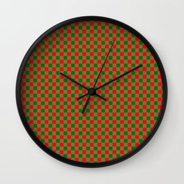 Large Red and Green Christmas Gingham Check Tartan Plaid Wall Clock