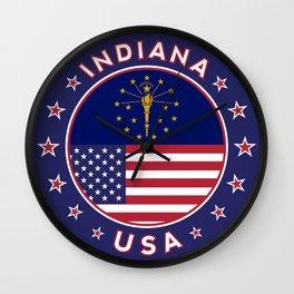 Indiana, Indiana t-shirt, Indiana sticker, circle, Indiana flag, white bg Wall Clock