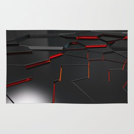 Black fractured surface with red glowing lines Rug