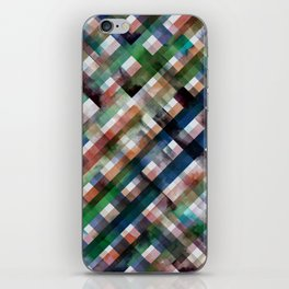 Multicolored vichy squares pattern - Green, orange and blue iPhone Skin