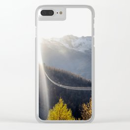 Longest suspended bridge in Europe in Zermatt, Switzerland Clear iPhone Case