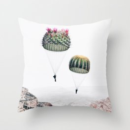 Flying Cacti Throw Pillow