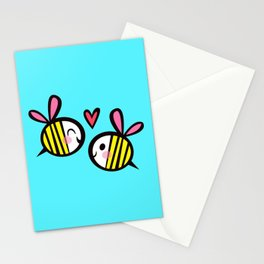 Kawaii Bees in Love Stationery Cards