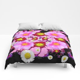 Black Design & Pink Roses Shasta Daisies Art Abstract Comforters