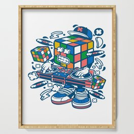 Rubix Cube Disk Jockeyfor animated characters comics and pop culture lovers Serving Tray