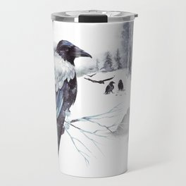 Cryptical Crows In The Whispering Winter Woods Travel Mug
