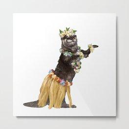 Otter the Hawaiian Dancer Metal Print