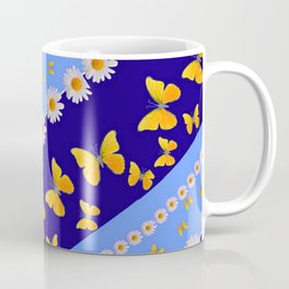 BLUE ART YELLOW BUTTERFLIES & WHITE DAISIES  DIAGONAL STRIPES Coffee Mug