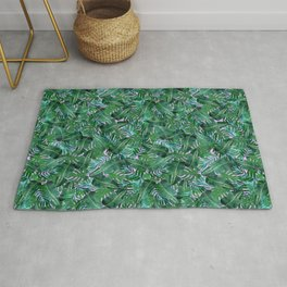 Tropical Palm Tree Leaf Pattern - Purple BG Rug