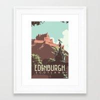 edinburgh Framed Art Prints featuring Edinburgh by bonksy
