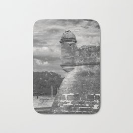 Castillo de San Marcos - black and white Bath Mat
