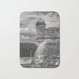 Castillo de San Marcos - black and white Bath Mat