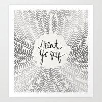 treat yo self Art Prints featuring Treat Yo Self – Silver by Cat Coquillette