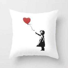 Girl with Balloon - Banksy Graffiti Throw Pillow