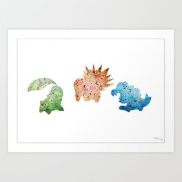 Johto Starter Monsters Set Art Print