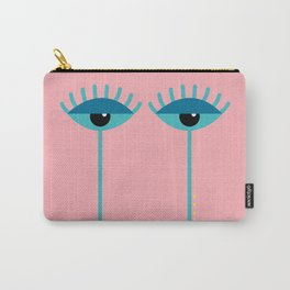 Unamused Eyes | Turquoise on Dark Peach Carry-All Pouch