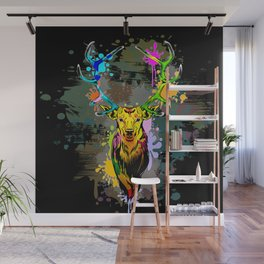 Deer PopArt Dripping Paint Wall Mural