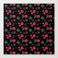 Watercolor . Red poppies .  Black . Canvas Print