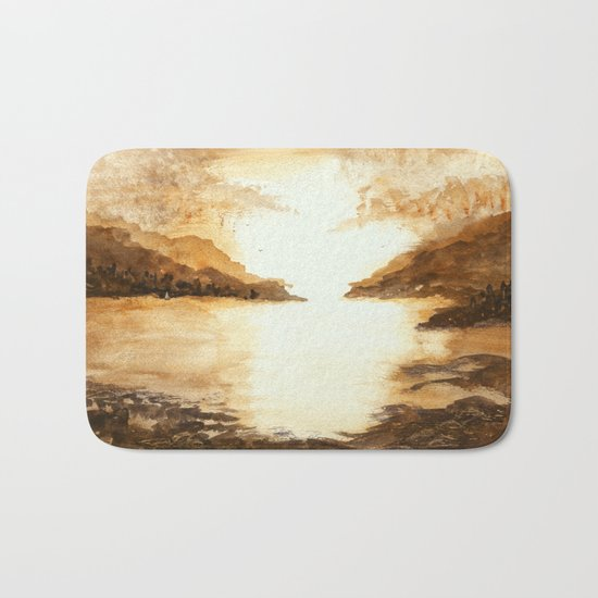 Golden Morn, Abstract Watercolor Landscape Art Water Nature Sky Bath Mat