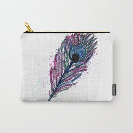 Watercolour Peacock Feather Carry-All Pouch