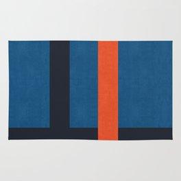 Minimalist blue and red art II Rug