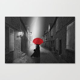 Alone in the rainy night Canvas Print
