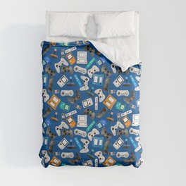 Watercolor Gaming Video Game Devices Pattern Blue Comforters