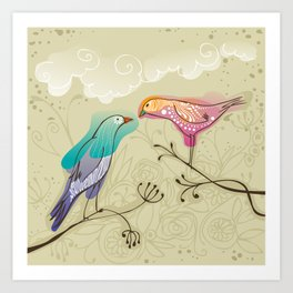couple of beautiful love birds Art Print