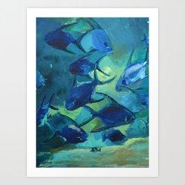 Covey blue fish Art Print